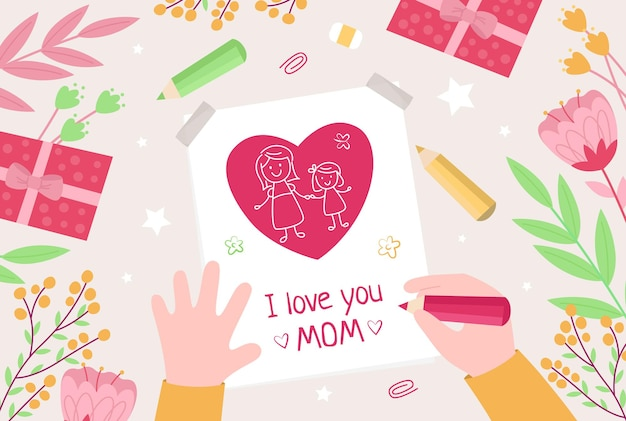 De handen van kinderen tekenen een kaart voor moeder wenskaart voor moederdag