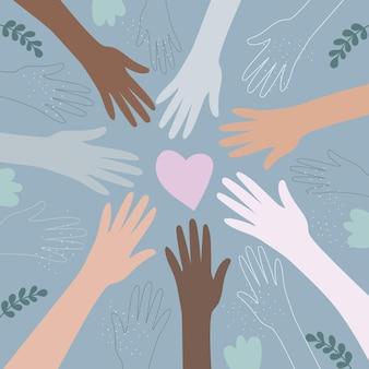 De handen van mensen van verschillende nationaliteiten