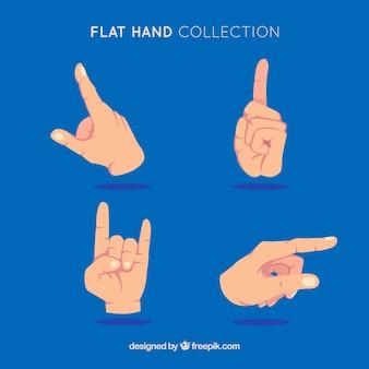 De handeninzameling met verschillend stelt in hand getrokken stijl