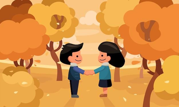De handholding van het paar in de tuin