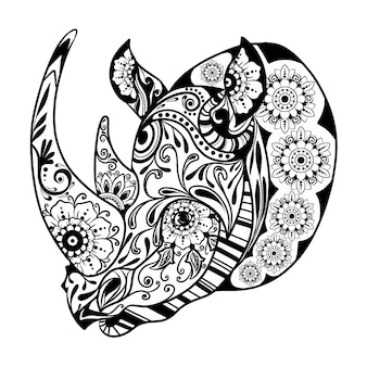 De handtekening van de zentangle van de eenhoornige neushoorn met het bloemenornament