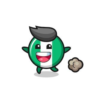 De happy nigeria flag badge cartoon met running pose, schattig stijlontwerp voor t-shirt, sticker, logo-element
