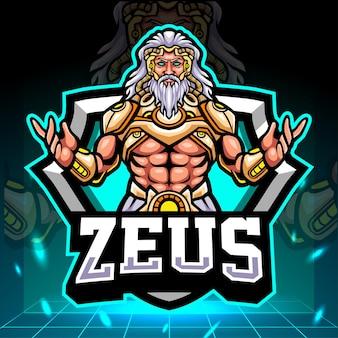 De heer van zeus-mascotte. esport logo ontwerp