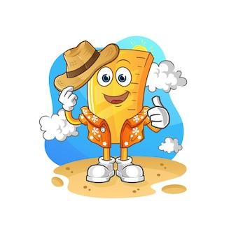 De heerser gaat op vakantie. cartoon mascotte