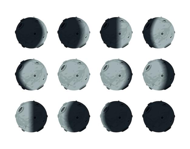 De hele cyclus van maanstanden