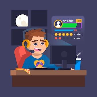 De hele nacht doorbrengen met het spelen van online gameverslaving