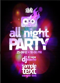 De hele nacht feest poster ontwerpconcept met plaats voor tekst en discolichten