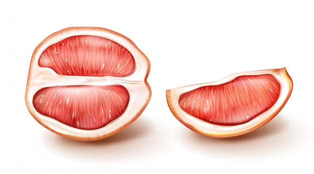 De helft en plakje rode grapefruit