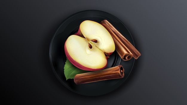 De helft van de rode appel en kaneelstokjes op een zwarte plaat.