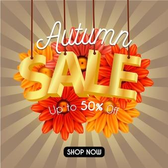 De herfst bloeit verkoopbanner met het van letters voorzien gouden 3d