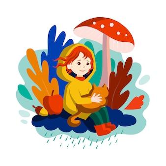 De herfst komt, glimlachend meisje met rood haar, seizoenkarakter.