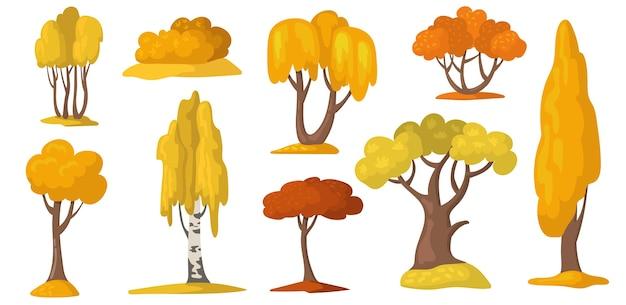 De herfstbomen en struik met geel en oranje gebladerte.