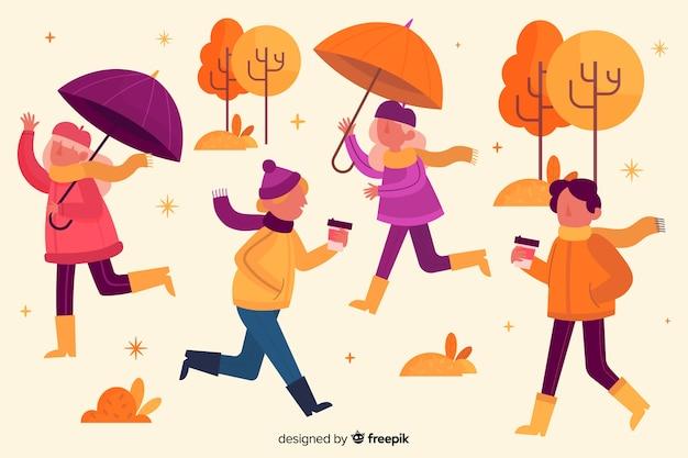 De herfstdaling van park met mensenconcept
