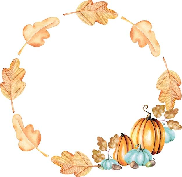 De herfstkroon met waterverfpompoenen en eiken bladeren Premium Vector