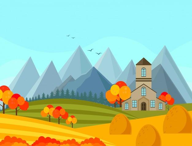De herfstseizoen van contryside met bergen achtergrond vectorillustratie