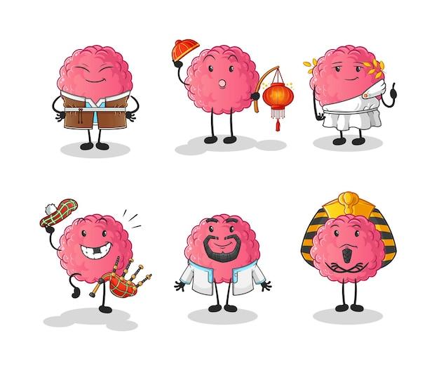 De hersenwereldcultuurgroep. cartoon mascotte