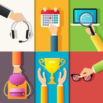 De het ontwerpelementen van bedrijfshanden gebaren van het houden van hoofdtelefoons richtend op kalender isoleerde vectorillustratie