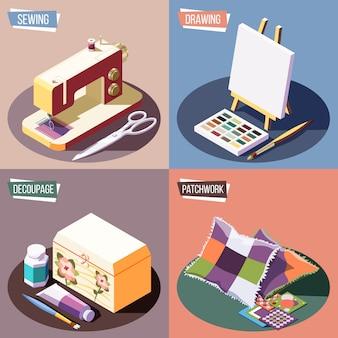 De hobby ambachten isometrisch kleurrijk 2x2 ontwerpconcept met het naaien van tekening decoupage en geïsoleerd lapwerk 3d