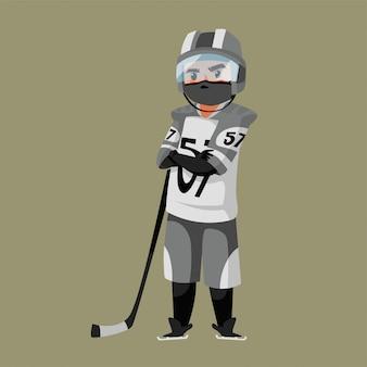 De hockeyatleet draagt masker tijdens c pandemie