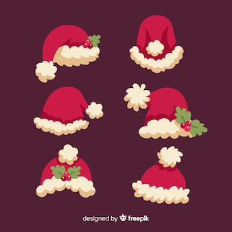 De hoed van de kerstman met set maretak
