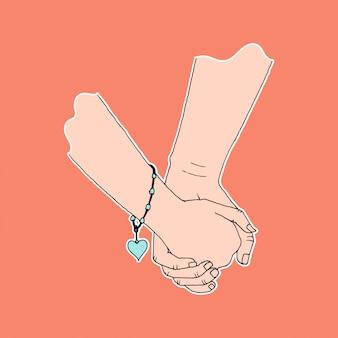 De holding van de paarhand, symbool van affectie en zorg, eenvoudige vlakke kleur