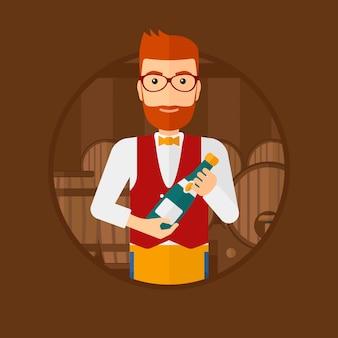 De holdingsfles van de kelner in wijnkelder.