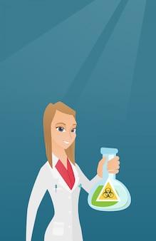 De holdingsfles van de wetenschapper met biohazardteken.