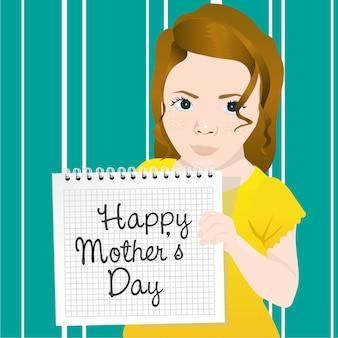 De holdingsnotitieboekje van het meisje belt met bericht voor moedersdag