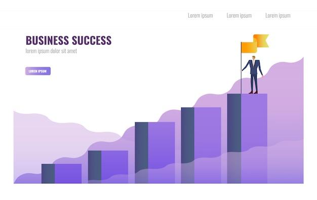 De holdingsvlag van de zakenman op de bovenkant van grafiek.