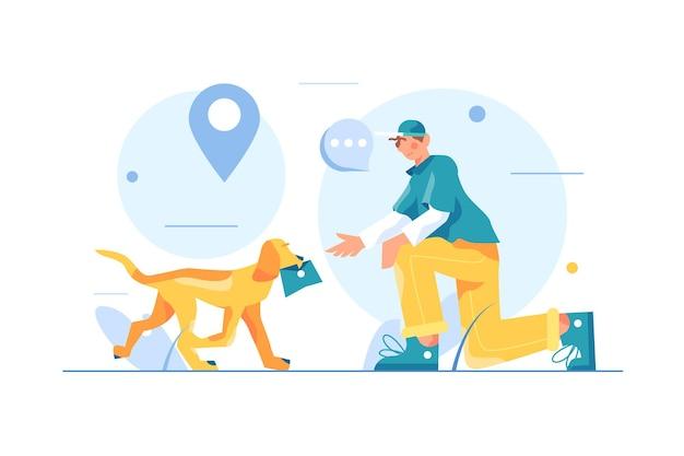 De hond brengt de man een brief in zijn bek
