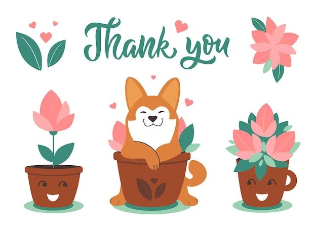 De hond husky met potplanten de set illustraties met puppy voor lente ontwerp dank u dag sticker