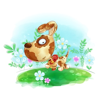De hond loopt op de weide met bloemen.