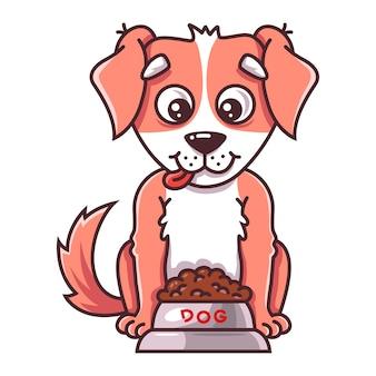 De hond zit naast een bak met voer. van huisdier.
