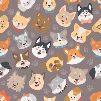 De honden leiden naadloze patroon geïsoleerde vector als achtergrond.