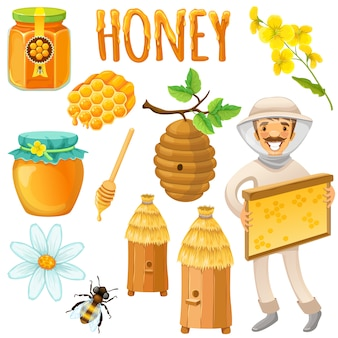 De honing kleurde en isoleerde reeks met gelukkige imkerwerken aan een bijenstal vectorillustratie