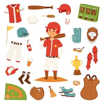 De honkbalspeler van het beeldverhaal met knuppel en elementen vectorontwerp