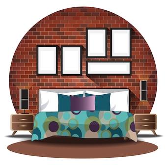 De hoogte van de slaapkamer die met achtergrond wordt geplaatst