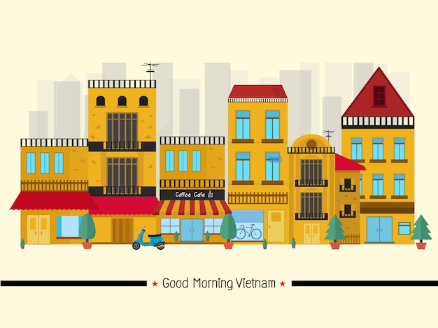 De horizon van de oriëntatiepunten van vietnam, cityscape, reis en toeristische attractie