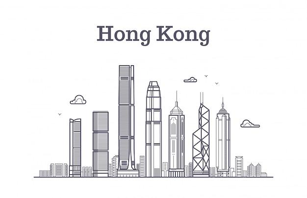 De horizon van de stad van hongkong. architectuuroriëntatiepunten en vector de lijnpanorama van gebouwen
