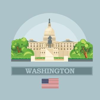 De horizon van washington dc in illustratie van de vs