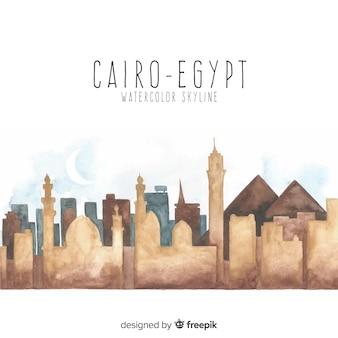De horizonachtergrond van kaïro in waterverfstijl