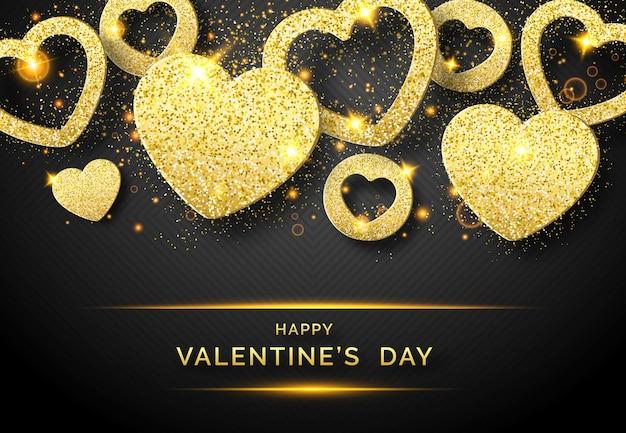 De horizontale achtergrond van de valentijnskaartendag met glanzend gouden hart en confettien