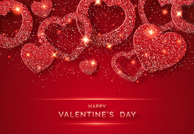 De horizontale achtergrond van de valentijnskaartendag met glanzende rode hart en confettien