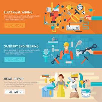 De horizontale banner van de huisreparatie die met elektro bedrading vlakke elementen wordt geplaatst