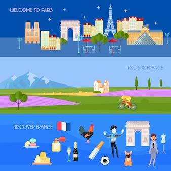 De horizontale die banners van frankrijk met de symbolen vlak geïsoleerde vectorillustratie van parijs worden geplaatst