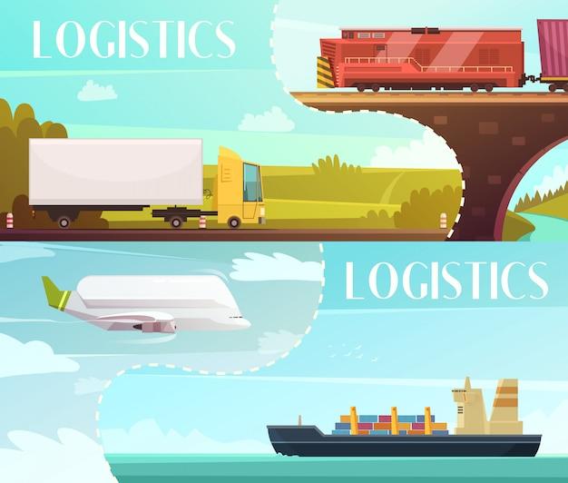 De horizontale die banners van het logistiekbeeldverhaal met leveringssymbolen geïsoleerde vectorillustratie worden geplaatst