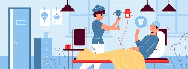 De horizontale samenstelling van de ziekenhuisgeneeskunde met druppelaar binnenshuis en patiënt die arts om glas water vraagt
