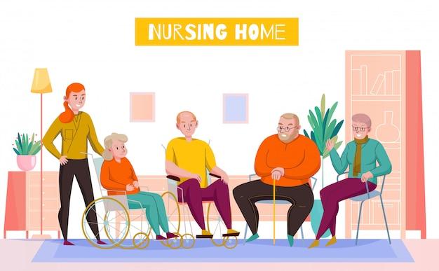 De horizontale vlakke samenstelling van de verpleeghuisdagruimte met personeel die bejaarde inwoners bijstaan in gedeelde zitkamer vectorillustratie