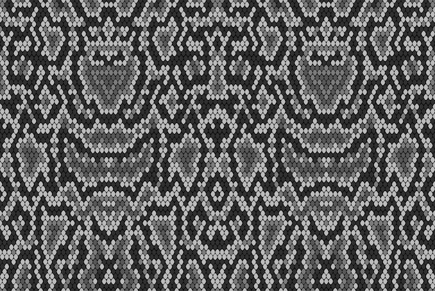 De huidtextuur van de slangpython. naadloze patroon zwart op een witte achtergrond. grijs