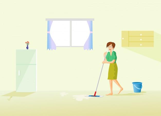 De huishoudster maakt de vloer in het huis schoon met een koelkast en een raam